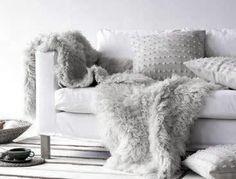 ♅ Dove Gray Home Decor ♅  modern white sofa with grey faux fur throws