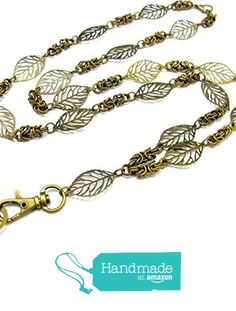 ID Badge Lanyard with Leaves and Byzantine Chain from By Brenda Elaine Jewelry http://www.amazon.com/dp/B018M73GYY/ref=hnd_sw_r_pi_dp_5-gwwb124K8AV #handmadeatamazon
