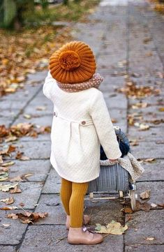 Little autumn fashionista cute girl autumn hat jacket style kids fashion