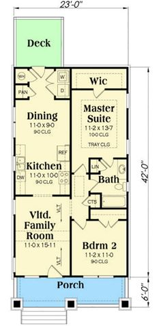 2 Bed Bungalow House Plan with Vaulted Family Room - 75565GB   Architectural Designs - House Plans