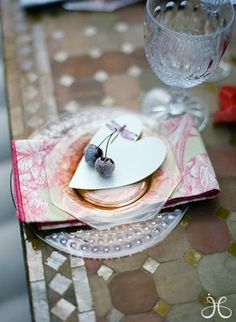 table setting with heart