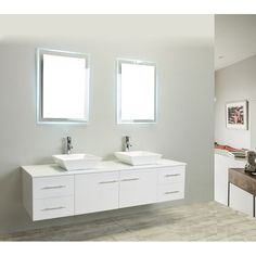 """This 72"""" Modern Double Sink Bathroom Vanity With Counter-Top And Double Sinks, is one of the best wall mount bathroom vanities available in the east coast. Looking for a simple bathroom cabinet that could provide you the ease of space and clean floors and that will look very simple on your wall this collection would be an optimum choice."""