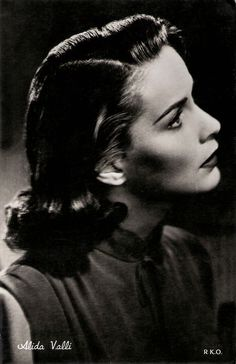 Alida Valli. Italian postcard. Photo: RKO. Strikingly beautiful actress Alida…