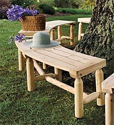 plow-and-hearth-outdoor-solid-unfinished-wood-log-bench. $89 for 5' Need 8 for circle.