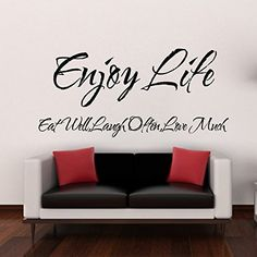 $13.90  - WALLS MATTER Removable Vinyl Wall Stickers Enjoy Life Love Home Decal Art DIY *** You can get additional details at the image link. (This is an affiliate link) #WallStickersMurals