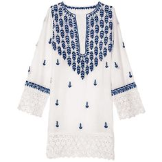 Shop Latitude Bazaar, Mumbai White & Blue Indian Embroidered Tunic (12,005 INR) ❤ liked on Polyvore featuring tops, tunics, blue, embroidery top, long sleeve tops, embroidered cotton top, blue tunic and long sleeve tunic
