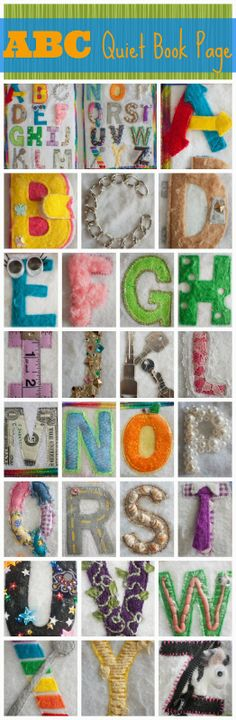 ABC Quiet Book Page.  These are some great Quite Book alphabet ideas!