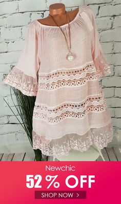 Where to buy lace blouse? NewChic offer quality lace blouse at wholesale prices. Shop cool personalized lace blouse with unbelievable discounts. Plus Size Dresses, Dresses For Sale, Athleisure, Stitching Dresses, Plus Size Casual, Casual Tops, Panel Dress, Half Sleeves, Casual Dresses