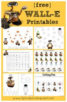 Wall-E Printables {free} from @{1plus1plus1} Carisa #preschool #kindergarten