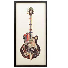 Black Guitar Shadowbox ($40) ❤ liked on Polyvore featuring home, home decor, shadow box, black shadow box and black home decor