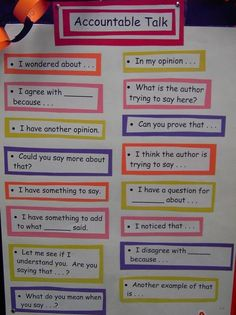 Accountable Talk- one poster for each subject- maybe on velcro?