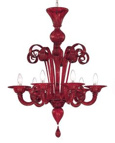 Red Murano glass chandelier. Available in several different sizes and colors. Ruby red modern Murano glass lighting chandelier, an excellent lighting fixture artwork for luxury residential and commercial interior design.