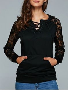 Front Pocket Lace Insert Hoodie - BLACK
