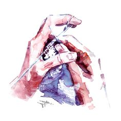 Hands + other bits – Made by Marion Watercolor Illustration, Watercolour, Canadian Artists, Montreal, Original Art, Hands, Prints, Pen And Wash, Watercolor Painting