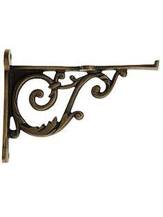"Small Brass Scroll Shelf Bracket - 3 11/16"" x 4 15/16"" | House of Antique Hardware"