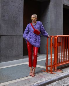 <red & lilac ❤️💜 FTW> wearing all my new favorites including this belt bag ⭐️ Colourful Outfits, Colorful Fashion, Pop Fashion, Casual Fall Outfits, Stylish Outfits, Red Leather Pants, Oldschool, Street Style Edgy, Mode Outfits