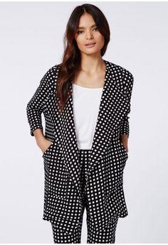 Izziee Check Waterfall Jacket Black - Coats & Jackets - Missguided