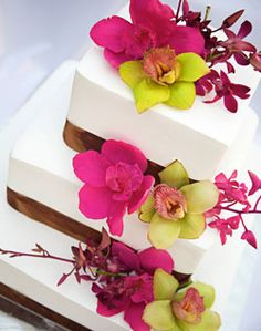 WeddingChannel Galleries: Cake with pink and green orchids