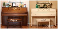 Piano Makeover | 32 Turns32 Turns...I'm sorry, but the painted piano is WAY better!  Cute!