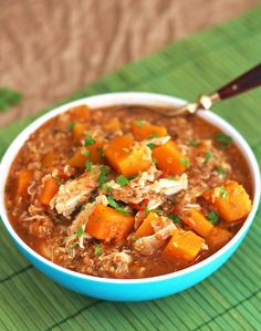 Slow Cooker Butternut Squash Chicken Quinoa Stew | omit chicken for vegetarian! I bet it's still super satisfying.