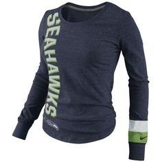 Nike Seattle Seahawks Ladies Go Long Long Sleeve T-Shirt - Navy Blue