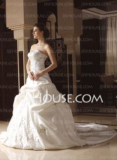 Ball-Gown Sweetheart Cathedral Train Satin Wedding Dress With Embroidery Ruffle Beadwork (002033765) - JJsHouse
