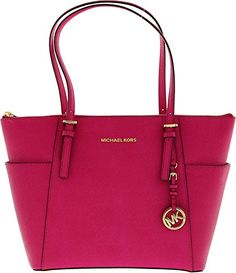 Michael Michael Kors Jet Set East West Top Zipper Raspberry Leather Tote Handbag