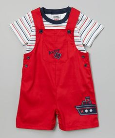 This Red  White Stripe Tee  Tugboat Overalls - Infant by Peanut Buttons is perfect! #zulilyfinds