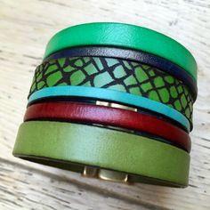 """www.cewax.fr aime les bijoux ethno tendance Bijoux ethniques et style tribal. CéWax aussi fait des bijoux en tissus imprimés africains, on vous retrouve en boutique ici: http://cewax.alittlemarket.com/ - Bracelet - création """"mes petits bracelets"""" - lanières de cuir véritable"""