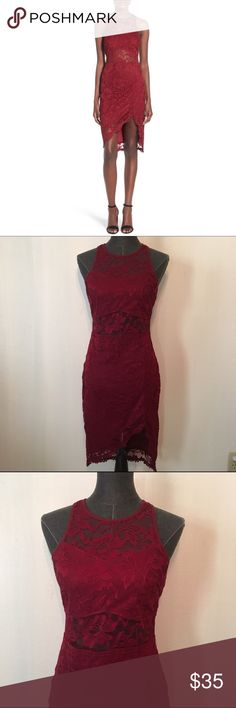 """Hommage Asymmetrical Lace Illusion Bodycon Dress d e s c r i p t i o n  Make an entrance in this stunning and sexy lace bodycon dress. Awesomely flattering and the perfect color for fall! NWOT.  c o n t e n t  90% nylon 