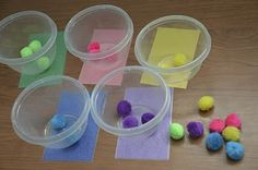 Put these cards under a clear cup, jar or Tupperware and have children put colored pom poms in the corresponding container.