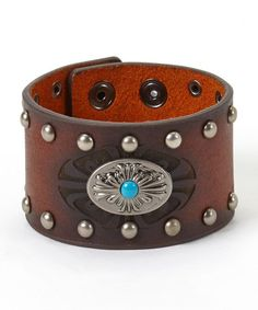 Look what I found on #zulily! Turquoise & Brown Decorative Leather Bracelet #zulilyfinds