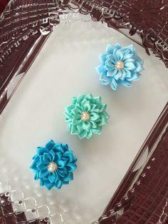 Set of 3 satin flower appliquesribbon flower by MCsupplies on Etsy