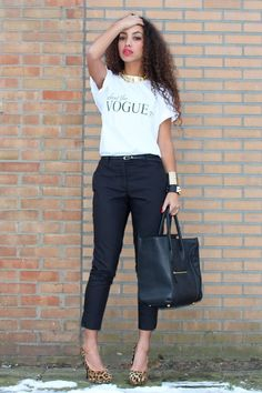 vogue tee and black pants