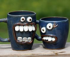 How I feel before my coffee! His and Hers Pair of Mugs by NelsonStudio Funny Wedding Gifts, Wedding Humor, Monster Cup, Cookie Monster, Coffee Cups, Tea Cups, Face Mug, Cool Mugs, Funny Mugs