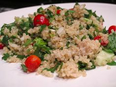 """Here is an old """"hippy/70's"""" favorite made new again by using quinoa. I loved these light tasting whole grain salads then and I still do now! Quinoa Tabbouleh Salad on http://foodbabe.com"""