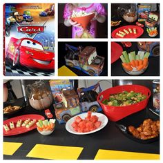 Disney Dinner and a Movie Night Cars Party. Chick Hicks chicken, Mater's potatoes, pasta salad in wheel shapes, Lightning McQueen's racing red watermelon, Doc's Hudson's engine dip sticks w/ carrots and celery, Filmore's organic greens w/ his homemade organic fuel dressing. Dessert- Luigi's tires (chocolate donuts) and the only stoplight in Radiator Springs cookies. Drink- a quart of oil from Flo's (chocolate milk.) Snack during the movie- popcorn in Sally's Cozy Cone and Cars gummy snacks.
