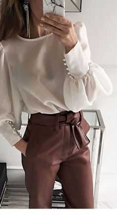 White blouse and brown pants | Inspiring Ladies