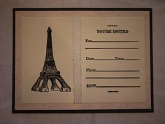 Parisian themed invite cards. These are super pretty and cute! The Eiffel Tower and font are embossed. French macaroons and tea anyone? Perfect for a tea party...