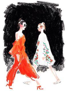 The illustrator Damien Florébert Cuypers draws the models, designers, buyers… Art And Illustration, Fashion Illustration Sketches, Fashion Sketches, Art Sketches, Fashion Drawings, Crayon Drawings, Art Drawings, Desenhos Crayon, Clothes Design Drawing