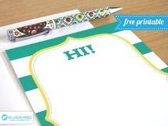 Free Printable Stationery Note Card (she: Melissa) www.oneshetwoshe.com