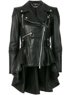 Comprar Alexander McQueen chaqueta biker con cintura peplum.
