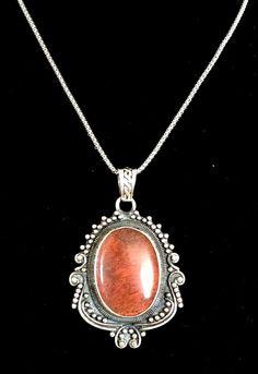 Stunning Rare Cherry Quartz Sterling Silver Pendant!