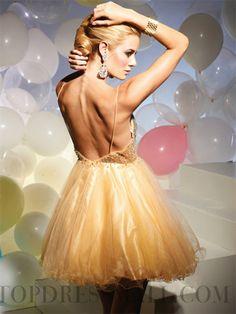 Beading A-line Straps Short / Mini Chiffon Homecoming Dresses : topdressmall.com