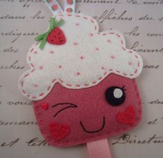 Kawaii strawberry cupcake with pink sprinkles  by HeartFeltPlush