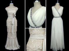Ivory scalloped lace Valentino wedding dress c. 1970; chiffon Grecian goddess sheath wedding dress