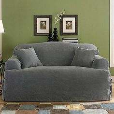 sure fit soft suede tcushion loveseat slipcover walmartcom
