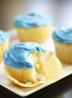 Cupcakes I like the idea of coloring the frosting blue or maybe another bright color for funfetti cakes