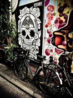 day of the dead Inspirer, Make Art, Day Of The Dead, Urban Art, Bicycles, Amsterdam, Tatting, Cool Art, Eye Candy