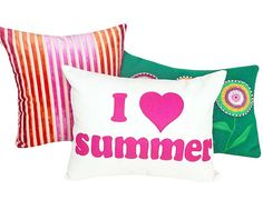 I LOVE SUMMER Word Pillow  14X18 New by PillowThrowDecor on Etsy, #Teen #decor